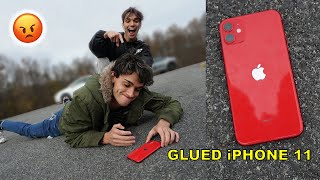 iPhone 11 Glued To The Floor PRANK On Twin Brother!