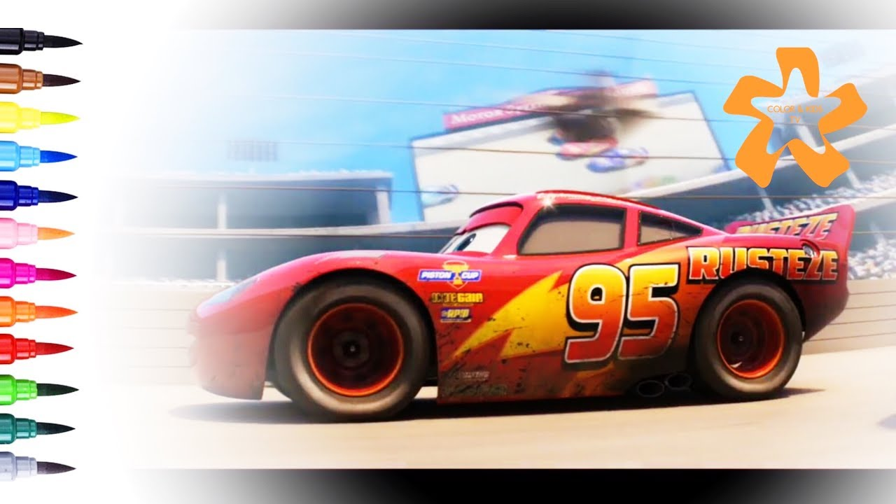 Cars 3 How to draw and color Lightning McQueen Rusteze