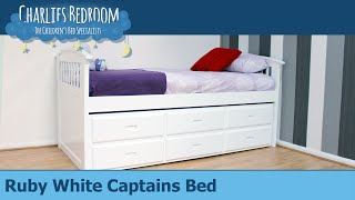 Ruby White Captains Bed - Charlies Bedroom
