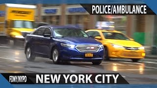 New York NYPD using rumbler on unmarked cruiser and FDNY ambulance responding in Manhattan