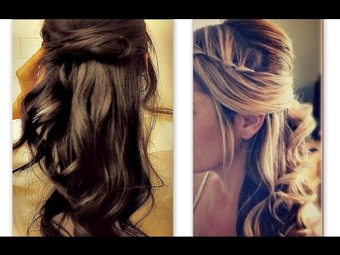 ★HAIR TUTORIAL CUTE HAIRSTYLES WITH TWIST WATERFALL BRAID FOR MEDIUM LONG HAIR : CURLY HALF-UP UPDO