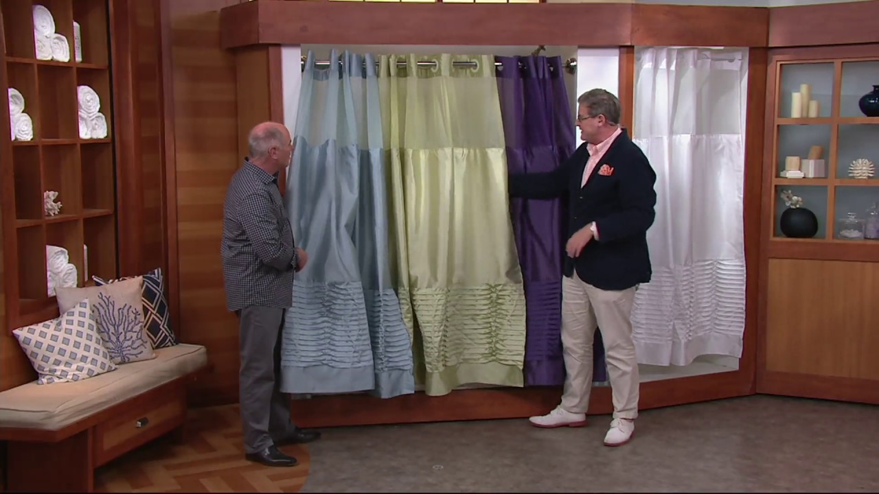 Hookless Pintuck Pleated 3 in 1 Shower Curtain on QVC - YouTube
