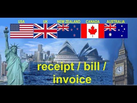 Счет, чек, квитанция - разница receipt / bill / invoice?
