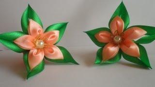 Зелёная звезда резиночка для волос канзаши / Green star hairband kanzashi(Привет друзья начался новый учебный год и к школьной форме много мамочек ищут что то интересное и красивое..., 2013-09-09T17:16:30.000Z)
