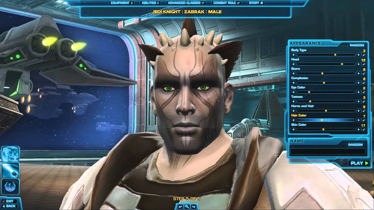 Star Wars Old Republic Jedi Knight Zabrak Character Creator Youtube