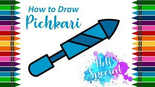 How to Draw Pichkari   Drawing Tutorial for Kids (Holi Special) by Kid