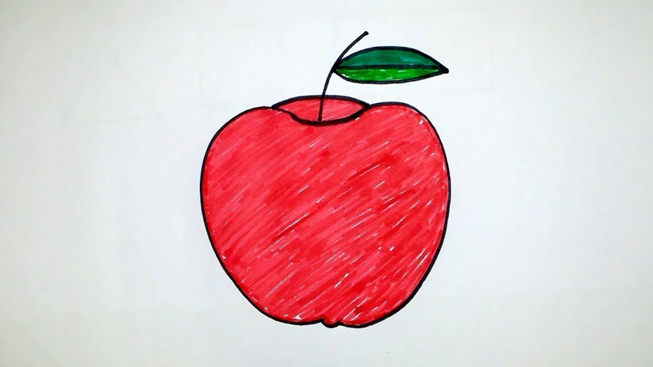 How to Drawing Apple for Kids Coloring Apple and with Color Pencil ...