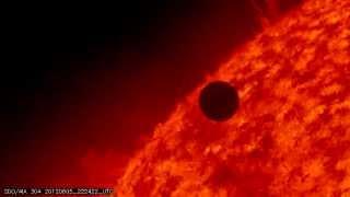 NASA SDO - Transit of Venus, Ingress, 304 Angstrom