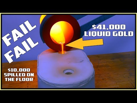 $41,000 Gold Bar casting went wrong! $12,000 boil over!