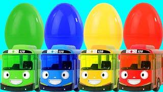 타요버스 뽀로로자동차 장난감 서프라이즈에그 색깔놀이 물감놀이 플레이도우 Learn Colors with Tayo Bus Toys for Kids-마슈토이MashuToysReview
