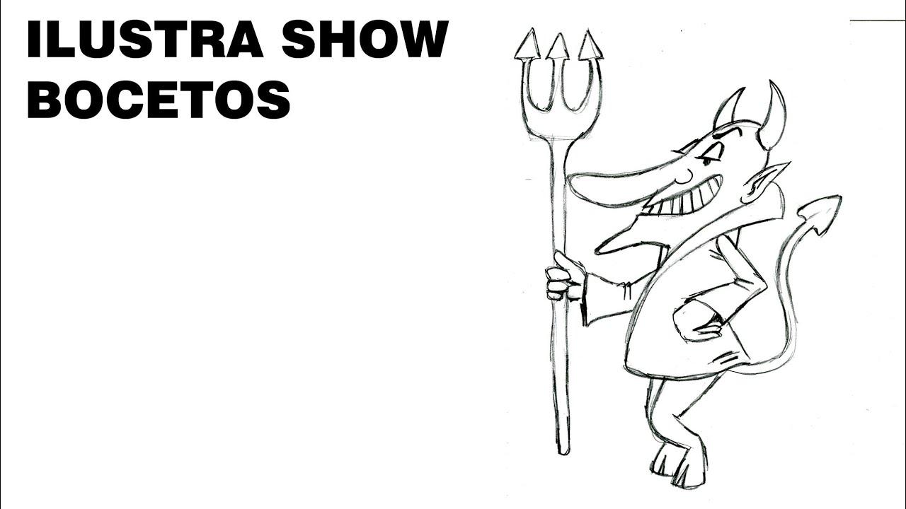 BOCETOS Cómo dibujar DIABLO DEMONIO SATANÁS Tutorial ILUSTRA SHOW ...