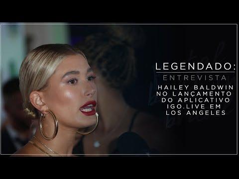 LEGENDADO: Hailey Baldwin no lançamento do aplicativo iGo.Live em Los Angeles