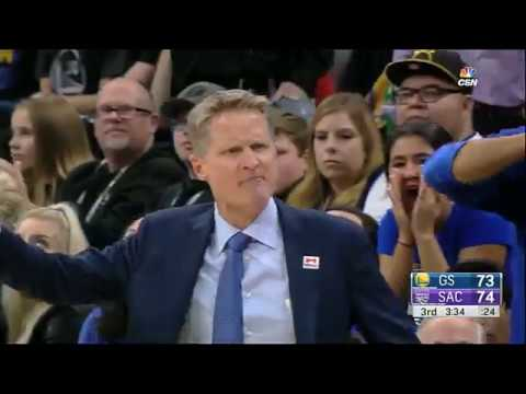 Draymond Green gets technical and Steve Kerr gets ejected - Curry + Thompson answer with 3s!