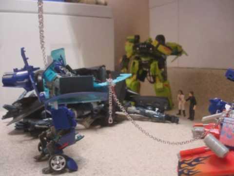 Transformers ROTF Jetfire merge to form Porwer Up Optimus Prime stopmotion remix