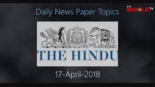 17-04-2018 Daily Current Affairs - Unique Shiksha