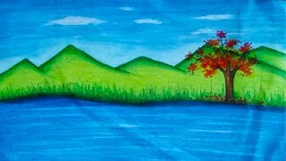 Natural Scenery Drawing - How To Draw Nature Scenery for Kids || Kudrati Drashya Drawing