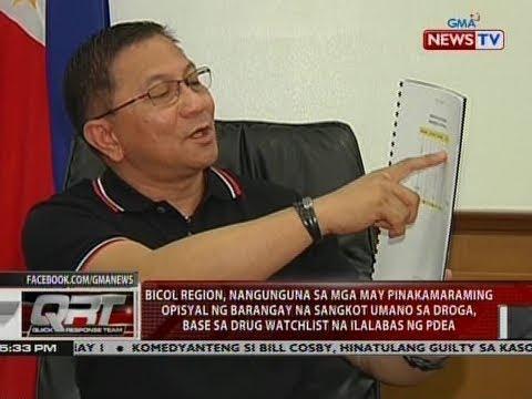 Bicol region, nangunguna sa mga may pinakamaraming opisyal ng barangay na sangkot umano sa droga