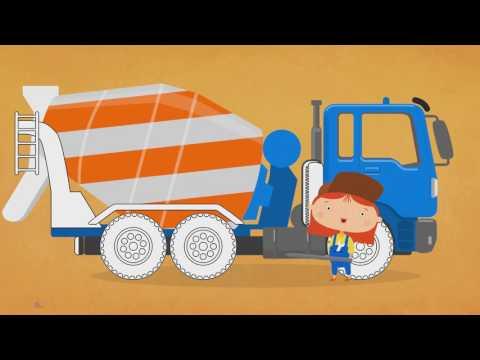 Eğitici çizgi Film - Doktor Mac Wheelie Bize Renkleri öğretiyor - Beton Mikseri