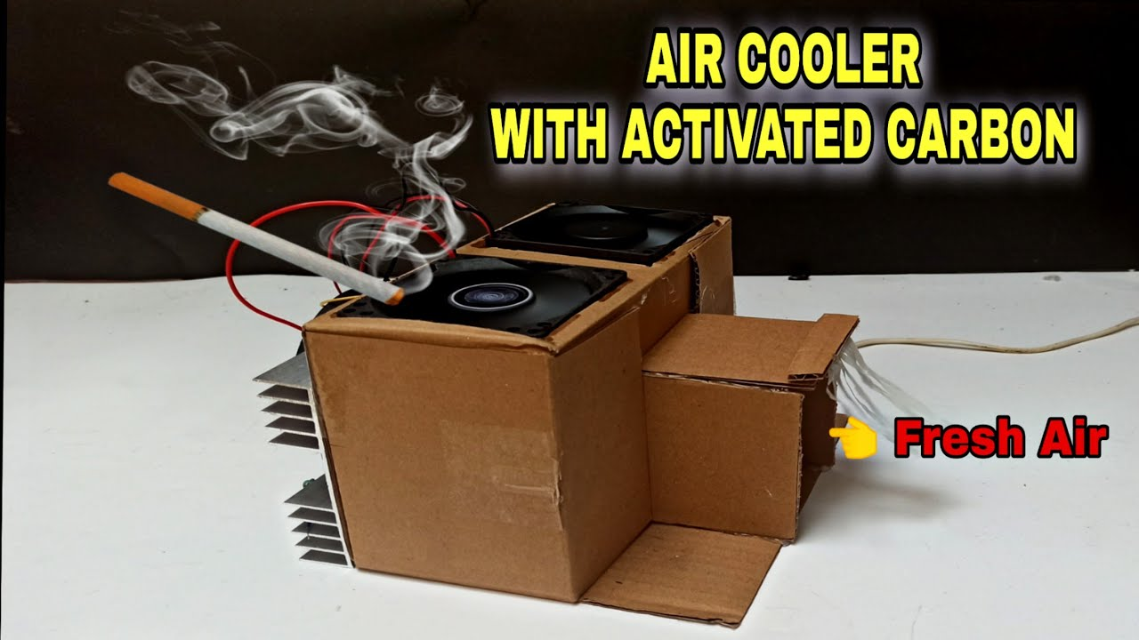How To Make Air Cooler With Cardboard Box | Air Purifier Smoke Removal | Bikin Ac Portable