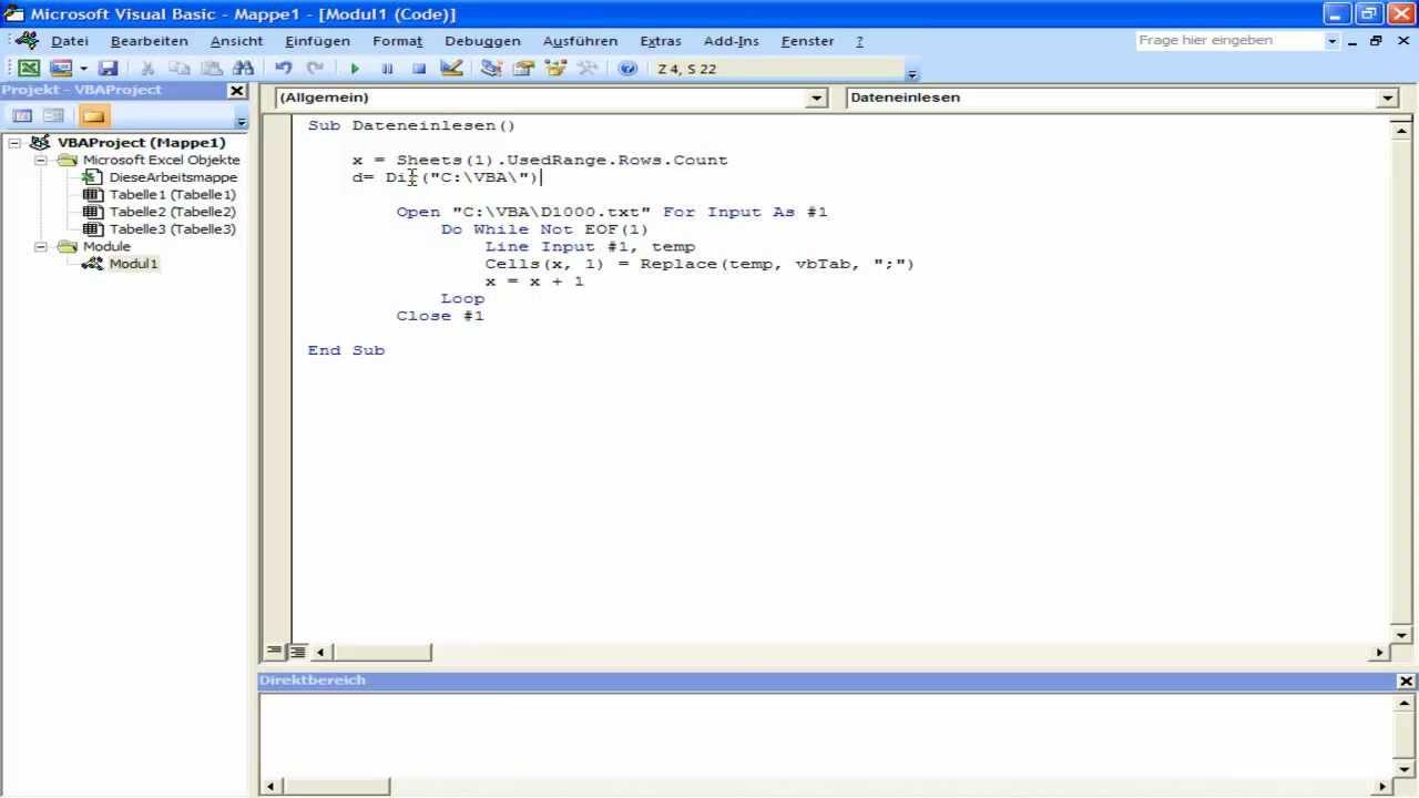 Excel VBA - Mehrere txt Dateien einlesen - YouTube