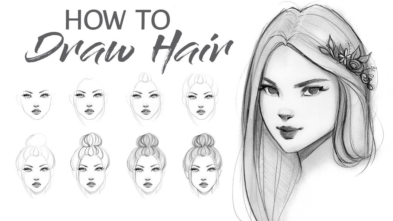 How to draw hair step by step tutorial