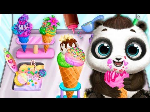 Милый МАЛЫШ панда Готовим плохое МОРОЖЕНОЕ Мультик игра для детей Baby Panda making bad ice cream