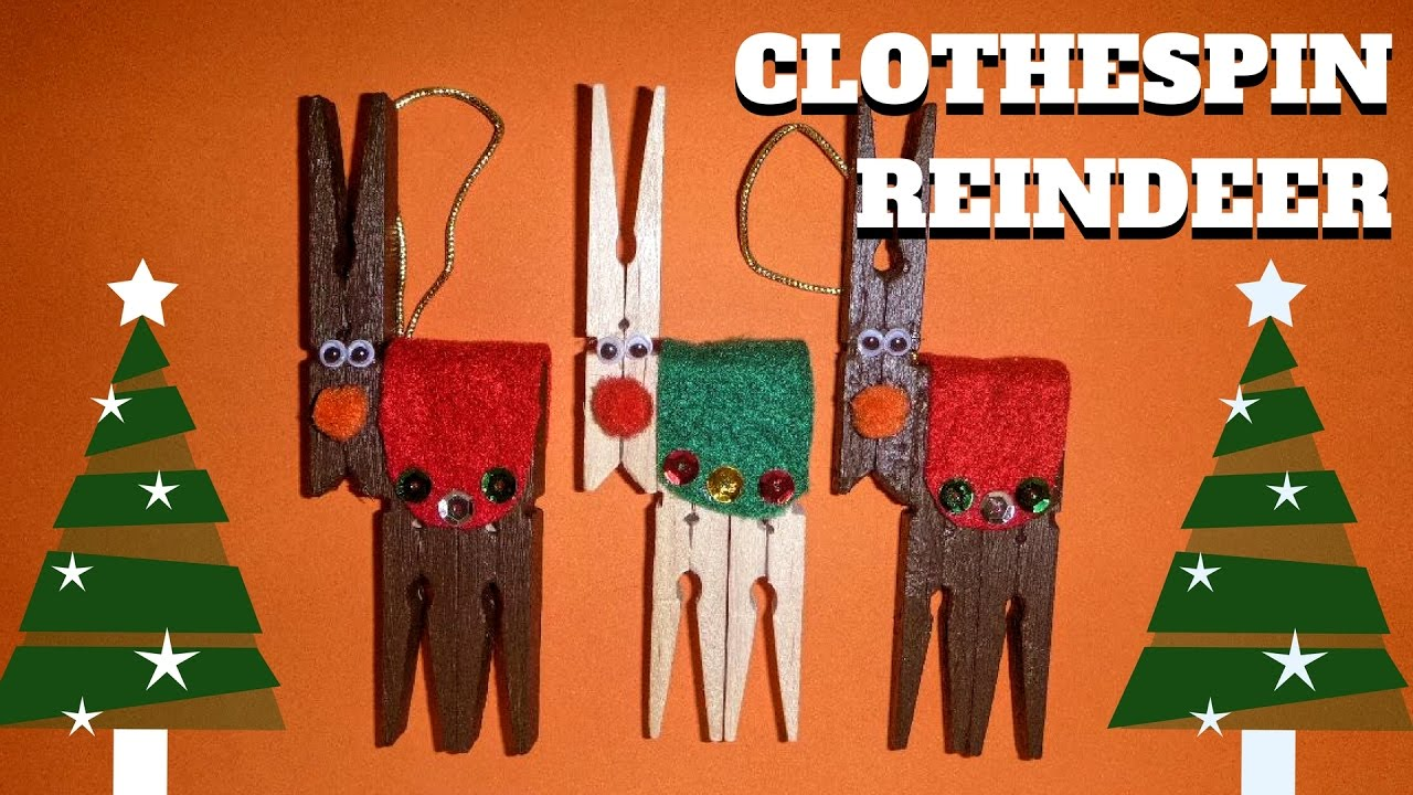 Clothespin Crafts Christmas Part - 19: Christmas Craft - Clothespin Reindeer - Clothespin Crafts - YouTube