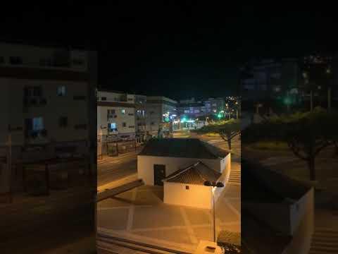 Recordatorio QuedateEnCasa durante la noche del 19 de marzo en San Isidro (Granadilla)
