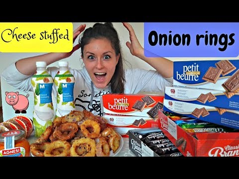 Fried ONION RINGS stuffed with CHEESE | funny eating show