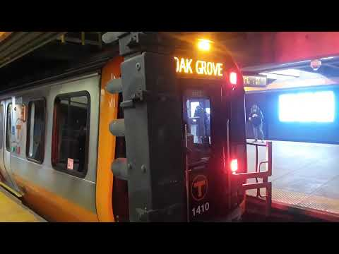 Boston MBTA New Orange Line Trains Departing Wellington Station ( New Trains in service ) 1/17/2020