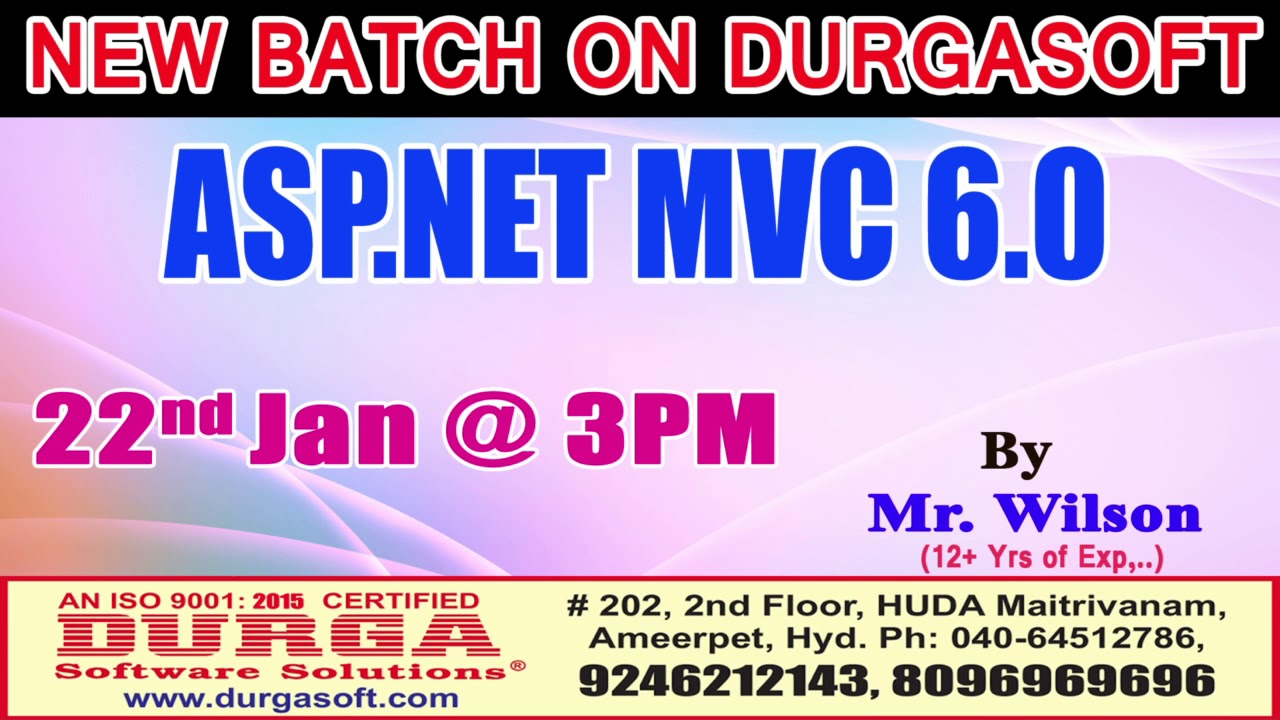 New Batch On Asp Mvc 60 By Mr Wilson Demo On 22nd Jan 3pm At