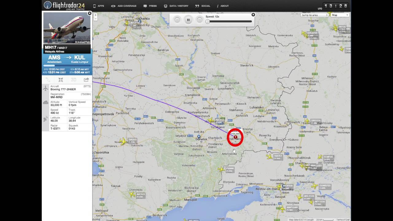 Debunked: MH17 - 10 Previous Flightpaths Different From 17-7