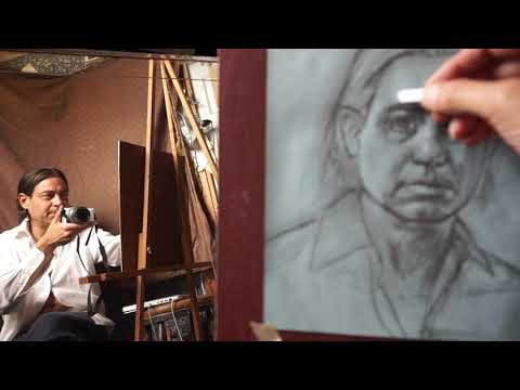 Preliminary Drawing and Oil Transfer onto Canvas - Gregory Mortenson's REALISTIC  SELF PORTRAITS