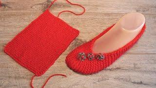 Тапочки – балетки из прямоугольника спицами 🐾 Knitted Rectangle Slippers