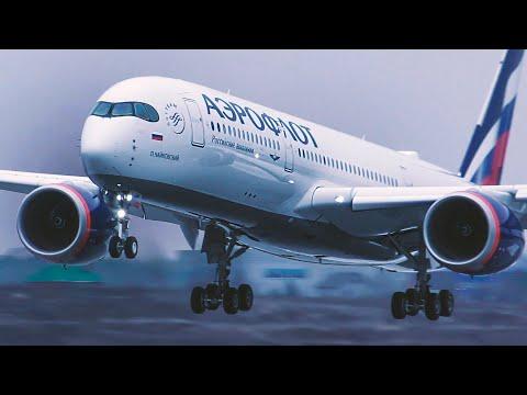 ⚡️Новый  Airbus A350-900 в Аэрофлоте. Официальный споттинг на лётном поле в Шереметьево.