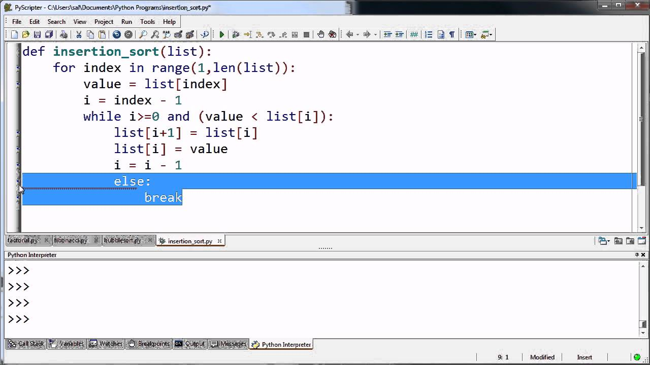 Simpler Insertion Sort Function