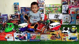 Mainan Mobil - Traktor,VW kombi,Becak dan Mobil - Belajar Nama Kendaraan & Unboxing Mainan Anak