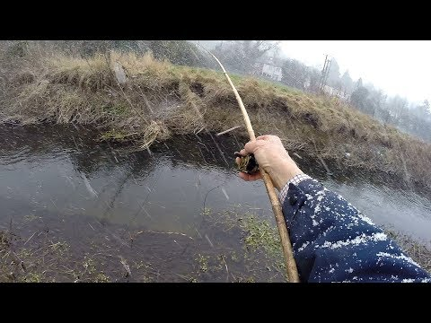 Primitive Fishing With Horse Hair And A Bamboo Rod - Catching Fish With A Stick