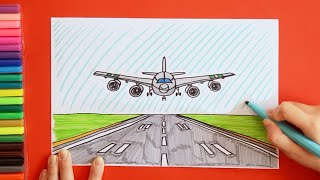 How to draw and color plane landing on runway
