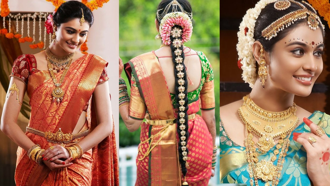south indian bridal saree draping with bridal makeup &bridal