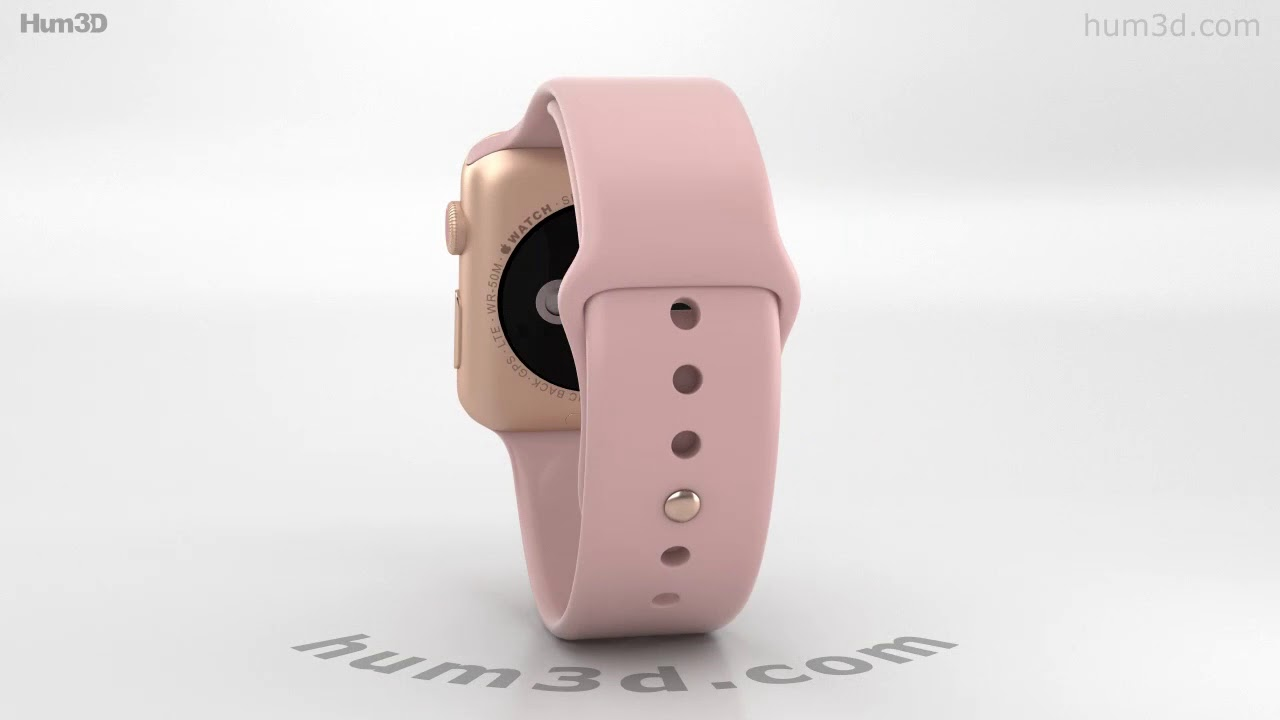 new product bee9f 74930 Apple Watch Series 3 42mm GPS + Cellular Gold Case Pink Sand Sport Band 3D  model by Hum3D.com