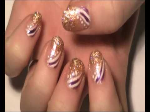 Glittery copper french tip with purple white design nail art glittery copper french tip with purple white design nail art tutorial youtube prinsesfo Choice Image