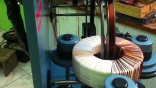 Máquina de enrolar transformador toroidal caseiro.