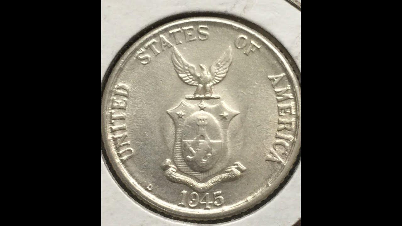 Moneda Filipina 1944 45 Plata 20 Centavos Youtube