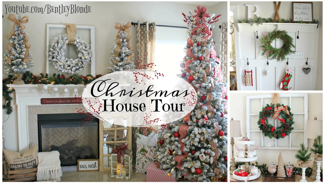 house tour 2016 christmas farmhouse decor on a budget youtube - Farmhouse Christmas Decor