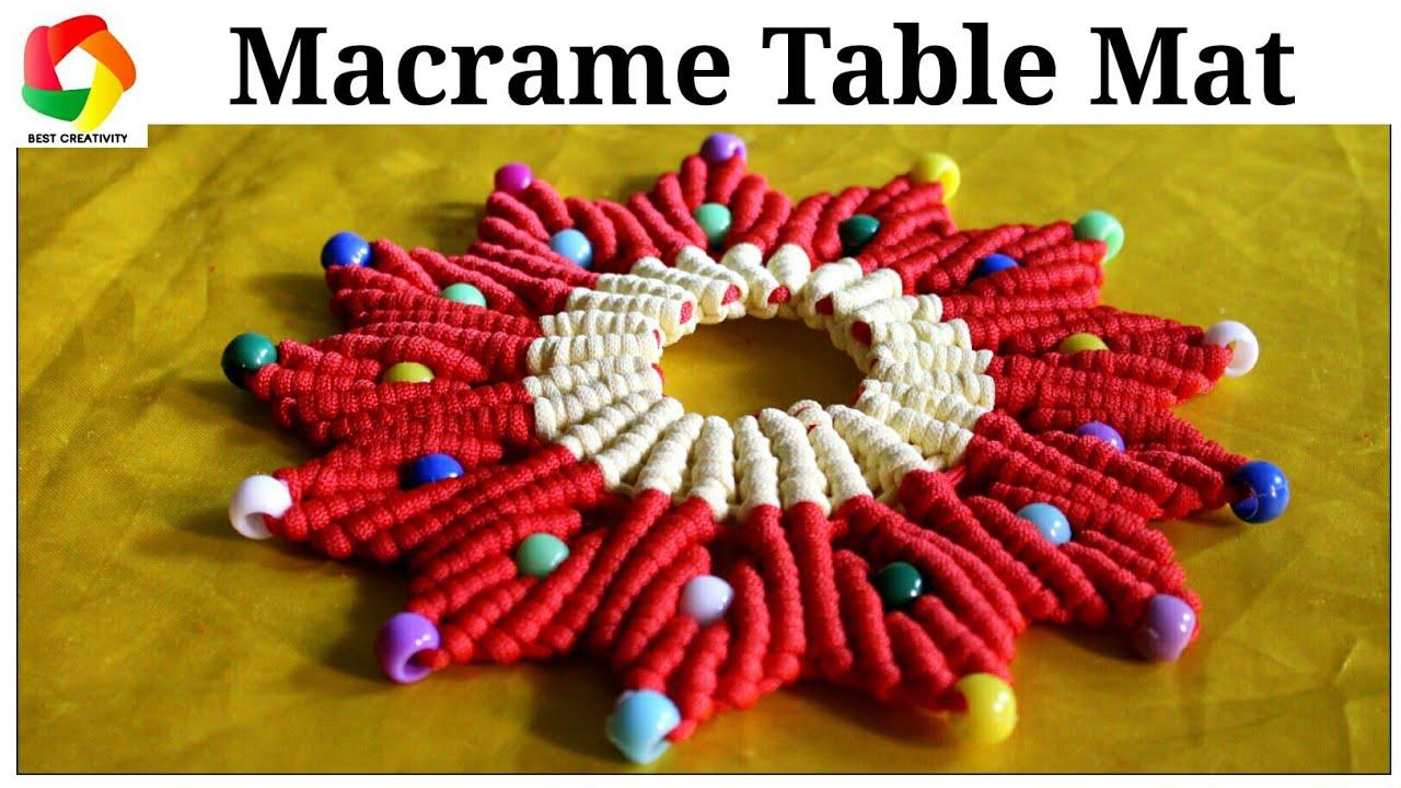 Macrame Book Cover Tutorial : Easy macrame table mat design thali cover tutorial youtube