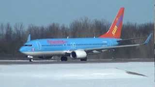 Sunwing Airlines Boeing 737-800 takeoff from runway 25 at Ottawa (CYOW)
