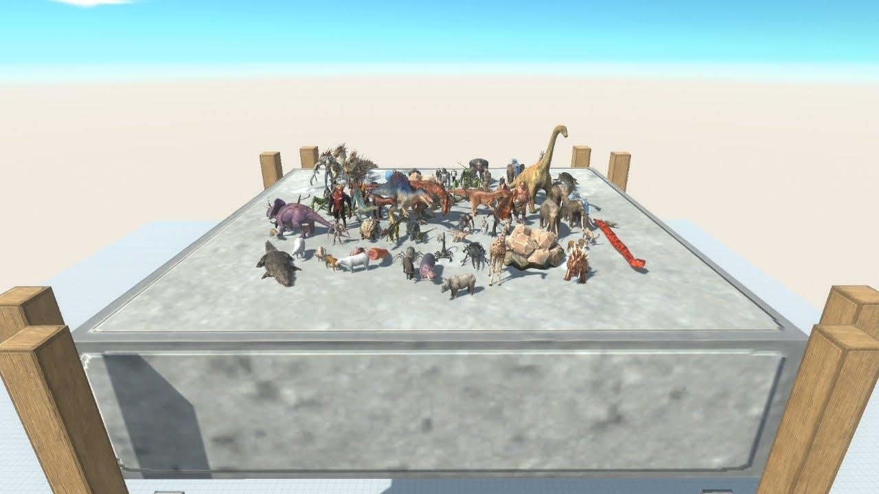 1 vs 1 ALL UNITS TOURNAMENT on Wobbly Platform Animal Revolt Battle Simulator
