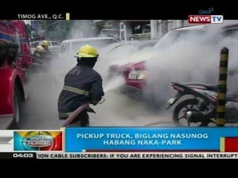 BP: Pickup truck, biglang nasunog habang nakaparada sa Quezon City
