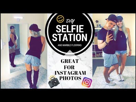 DIY Selfie Station & Marble Flooring  Perfect For Instagram Pics